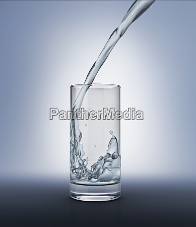 pouring water into a glass with