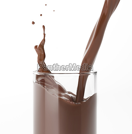 pouring liquid chocolate in a