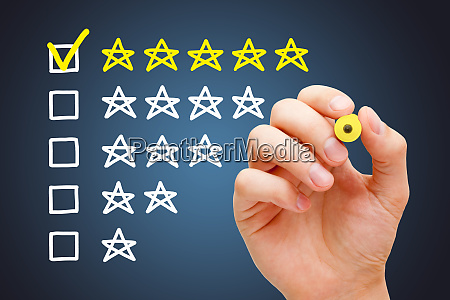 excellent five star customer evaluation concept