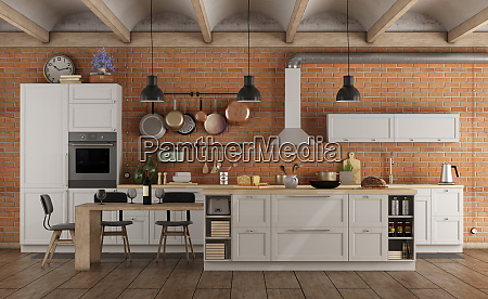 retro white kitchen in a old