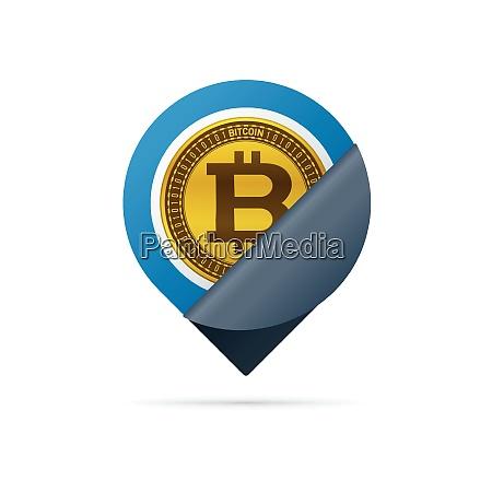 gold colored bitcoin symbol address pin