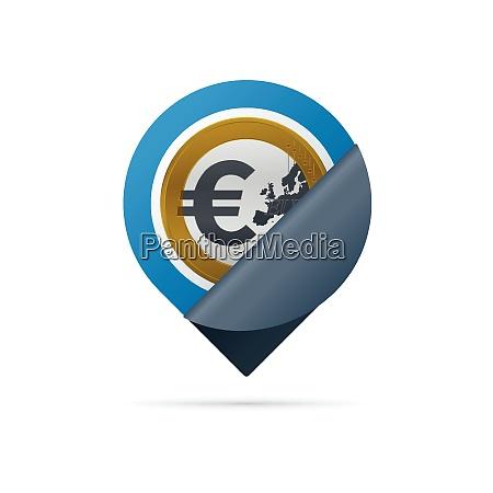 gold colored euro symbol address pin