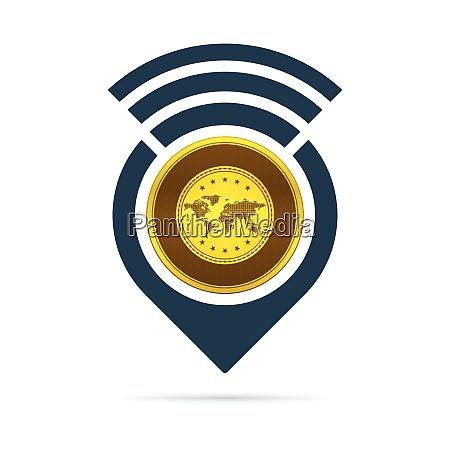 gold address pin icon with radio