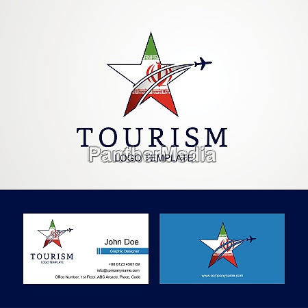 travel iran flag creative star logo