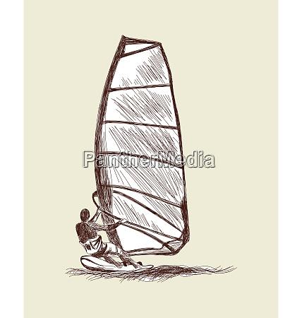 windsurfing sketch set vector eps 10