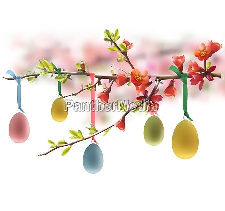 uova di pasqua appese al ramo