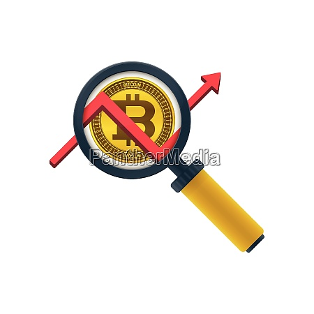 gold colored bitcoin graph magnifying glass