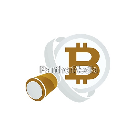 white magnifying glass gold colored bitcoin