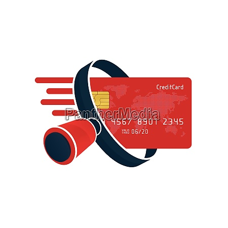red credit card and black magnifying