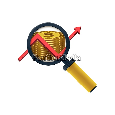 gold colored dollars stack graph magnifying