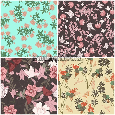 floral seamless vector pattern set