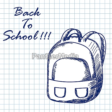 school backpack doodle sketch on checkered