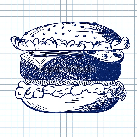 hamburger., doodle, sketch, on, checkered, paper - 26302085