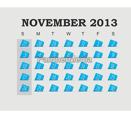 vector calendar 2013 blue november vector
