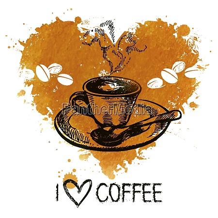 sfondo caffe vintage disegnato a mano