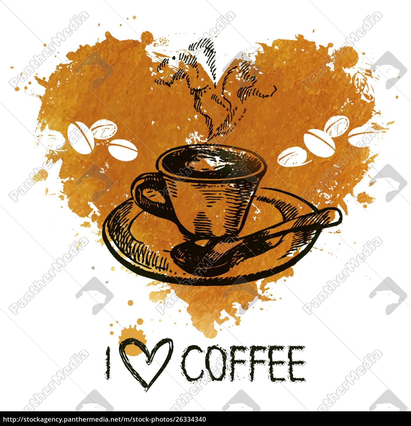 hand, drawn, vintage, coffee, background, with - 26334340