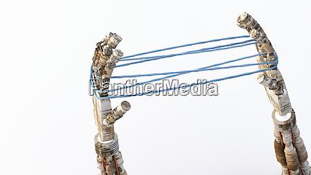 3d rendering mani robotiche tenendo blu