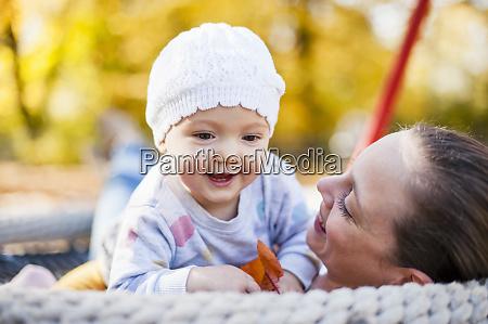 portrait of happy baby girl relaxing