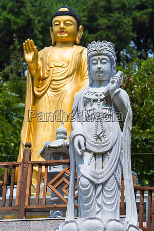 statues at buddhist temple in busan