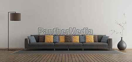minimalist living room with large sofa