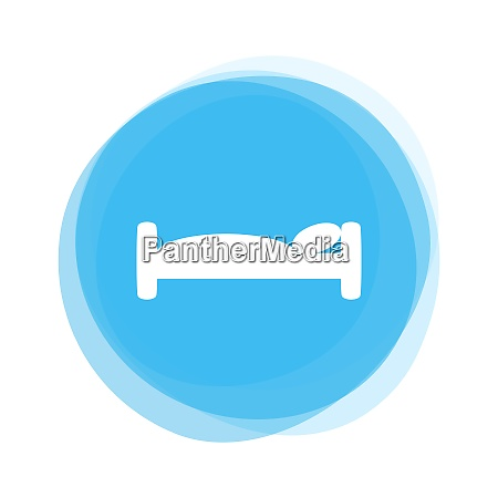 isolated light blue round button bed
