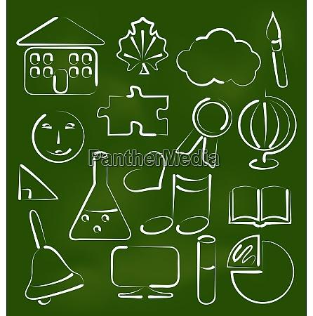 illustration set school icons in chalk