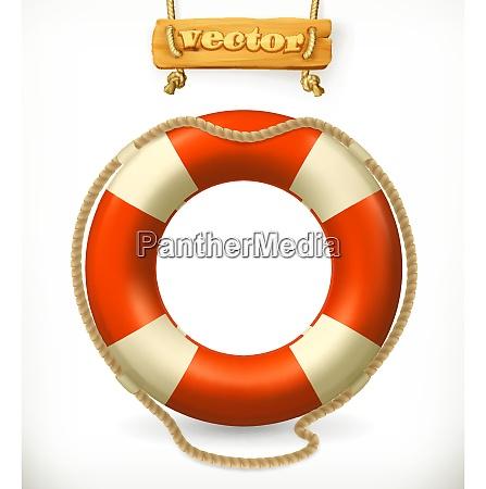 lifebuoy icona vettoriale 3d