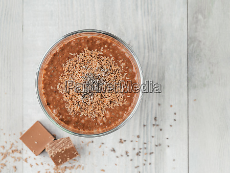 chocolate chia pudding in glass on
