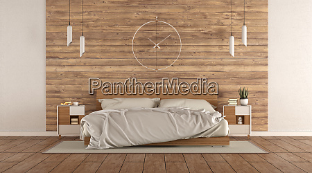 minimalist master bedroom with wooden double