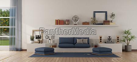 modern white and blue living room