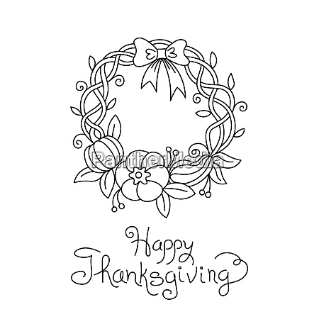 doodle thanksgiving wreath freehand vector drawing