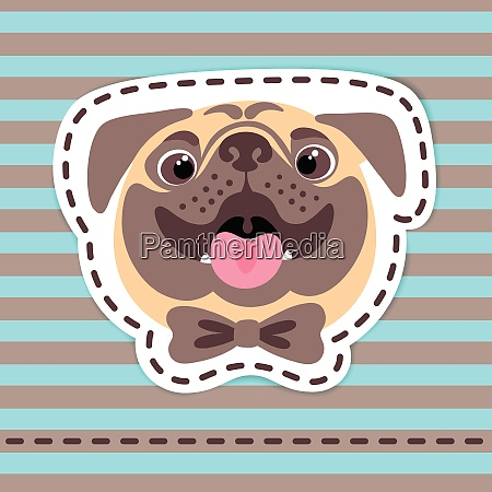 fashion patch badges happy pug in