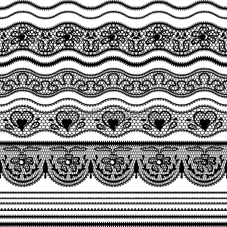 lace seamless borders vector set of