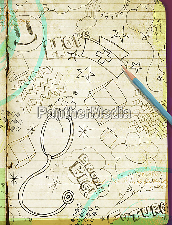 doodle su notepad di sogni per