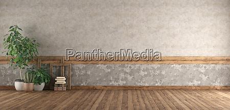 camera vuota con pavimento in legno