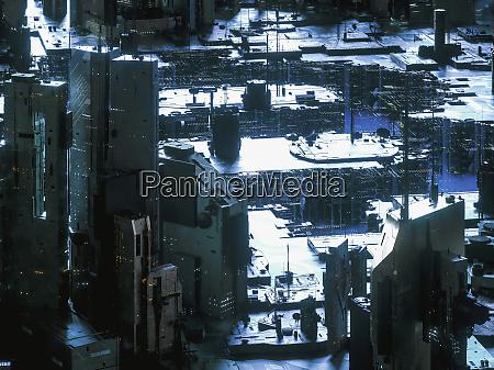paesaggio urbano tecnologico futuristico