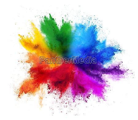 colore vernice esplosione polvere isolato colorato