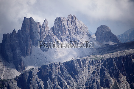 high mountain peaks in the dolomite