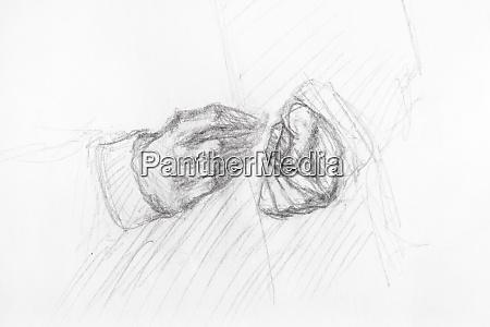 sketch of gesture of hands of