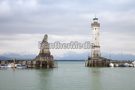 germany bavaria lindau harbour entrance lighthouse