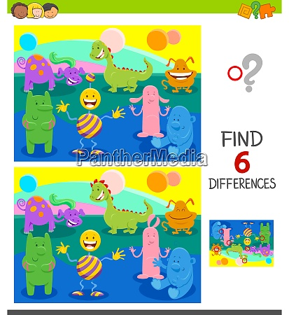 differences game with funny cartoon monsters