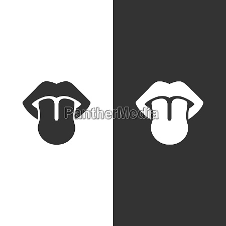 body senses taste tongue icon on
