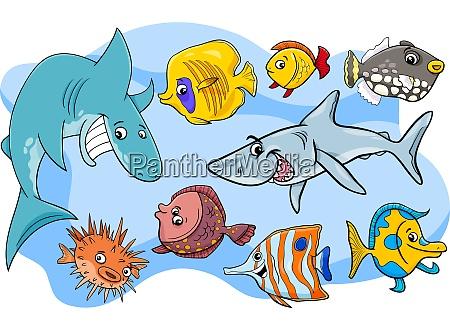 pesce marino animale cartone animato personaggi