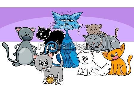 divertente gatti animali domestici gruppo illustrazione