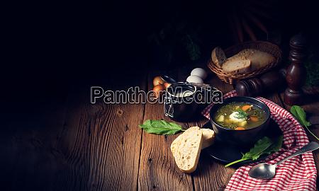 rustikal, sorrel, zuppa, con, patate, e - 27123028