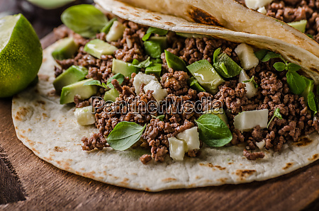 homemade minced beef tortilla fresh avocado