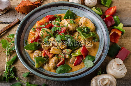 curry chicken vegetable fresh food