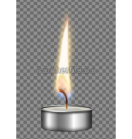 colored realistic candle metal case flame