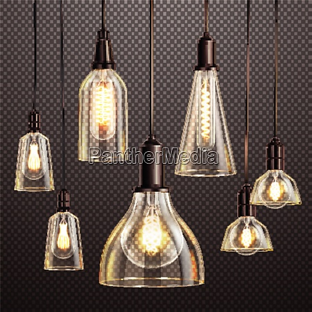 hanging deco glass lamps with glowing