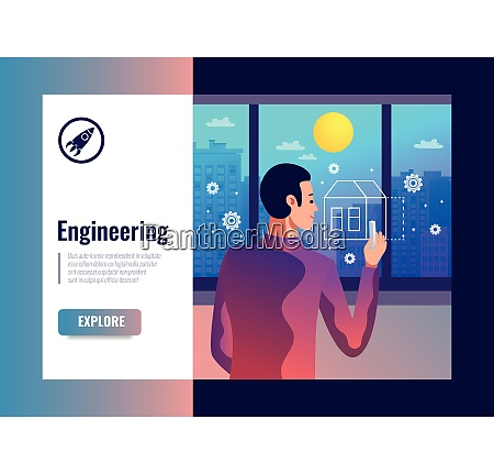 engineering vector illustration with male figurine